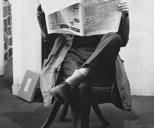 black and white, newspaper, and man image