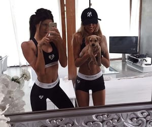 girl, best friends, and dog image