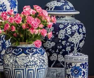 blue and white, china, and flowers image