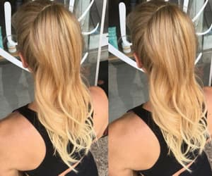 blonde hair, ponytail, and hair extensions image