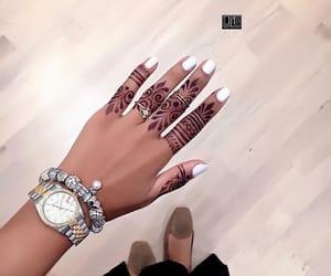 bracelet, henna, and nails image