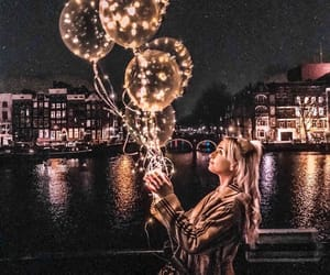 light, balloons, and girl image