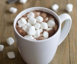 drink, hot cocoa, and marshmallow image