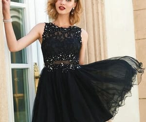 black dress, party dress, and short dress image