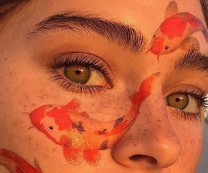 art, koi, and makeup image