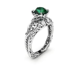 etsy, emerald ring, and white gold ring image
