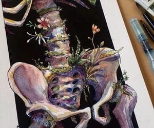 art, flowers, and bones image