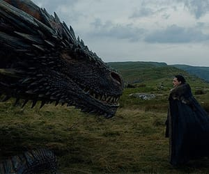 dragon, jon snow, and game of thrones image