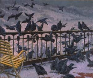 art, painting, and ravens image