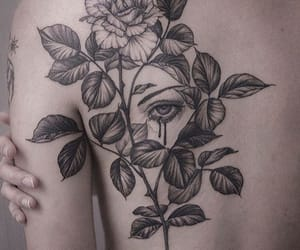 face, rose, and tattoo image