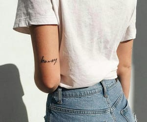 tattoo, honey, and jeans image