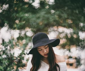 bokeh, girl, and hat image