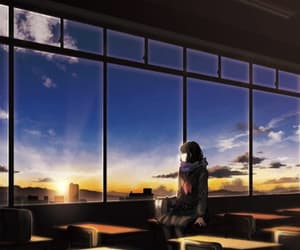 anime, blue, and sun image