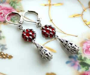 dark red, floral jewelry, and flower earrings image