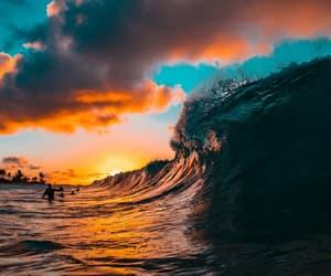 ocean, sunrise, and orange sky image