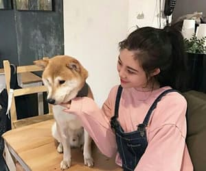 girl, dog, and ulzzang image