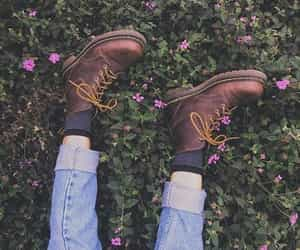 adorable, boots, and flowers image