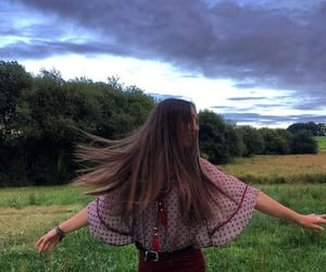 girl, long hair, and nature image