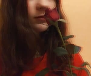 aesthetic, red lips, and red rose image