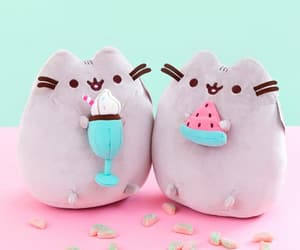 kawaii, watermelon, and pusheen image