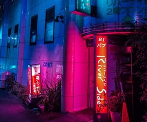 neon, tokyo, and city image