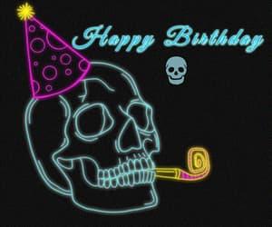 gif, happy birthday, and skull image