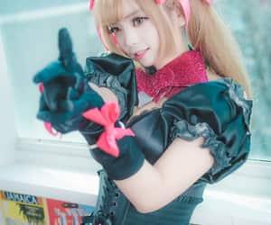 beautiful cosplay girl, black cat dva, and dva lolita dress image
