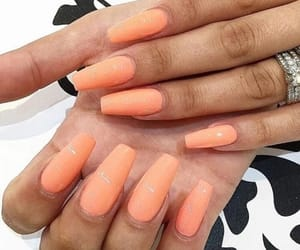 nails, orange, and orange nails image