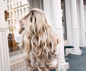 blonde, curly, and hairstyle image
