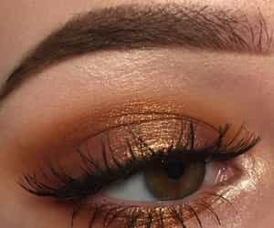 makeup, gold, and eye image