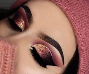 girl, make up, and gold image