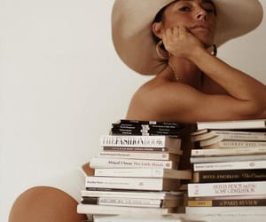book, hat, and woman image