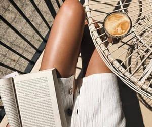 book, latte, and novel image