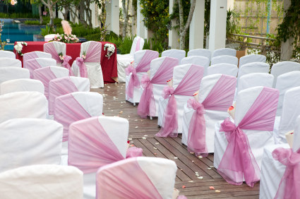 Pink and white wedding ceremony decor on We Heart It