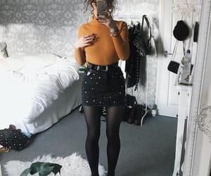 black skirt, girly, and tights image