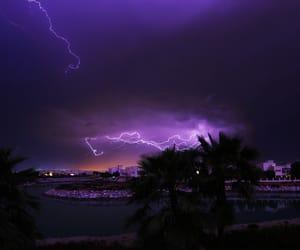 lightning, night, and purple image