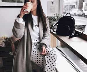 babe, coffee, and polka dots image
