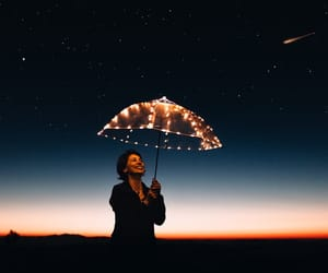 light, umbrella, and night image
