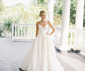 taffeta wedding dress, wedding dress with straps, and 2018 bridal dress image