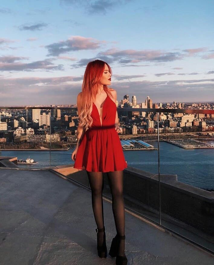 city, model, and red hair image