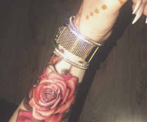 colored tattoo, roses, and tattoo image