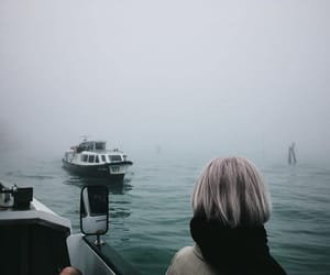 fog, girl, and sea image