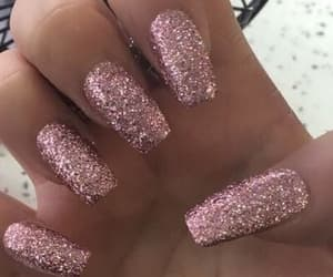 cute nails pink glitter image
