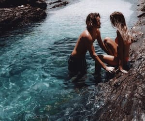 blue, couple, and ocean image