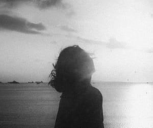 beach, black and white, and sea image