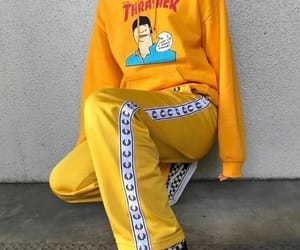 yellow, thrasher, and outfit image