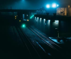 blue, night, and railway image