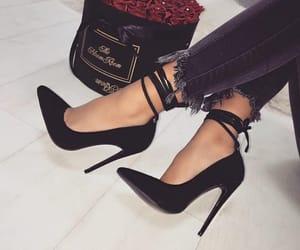 black, stilettos, and style image