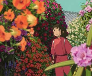 anime, chihiro, and flowers image