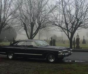 car, dark, and cementary image